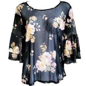 🆕️ Sheer Floral Ruffle Overlay Blouse
